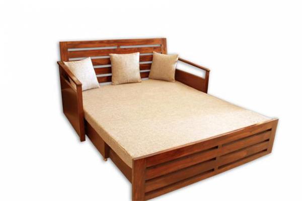 Natural living furniture wooden sheesham hardwood for Diwan come bed